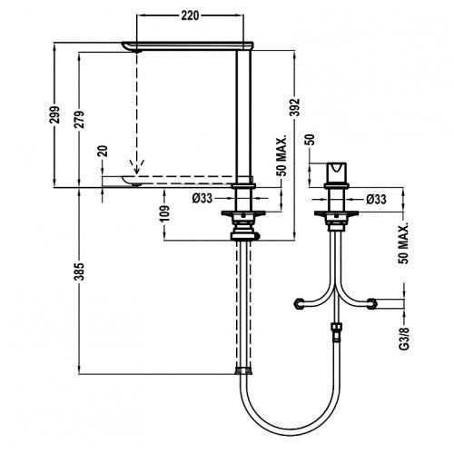 TEKA FO 985 mosogató csaptelep, forgatható kifolyócső, ablak alatti mosogatóhoz, besüllyeszthető, vízkőmentes perlátor, Króm 62.985.02.00 / 629850200