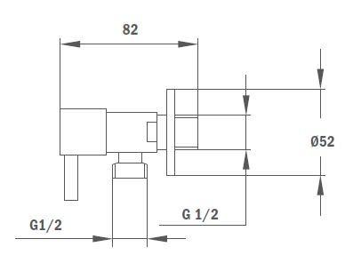 """TEKA Mosógéptöltő szelep, 3/4"""" - 1/2"""", króm 79.010.54.00 / 790105400, design mosógépcsap"""