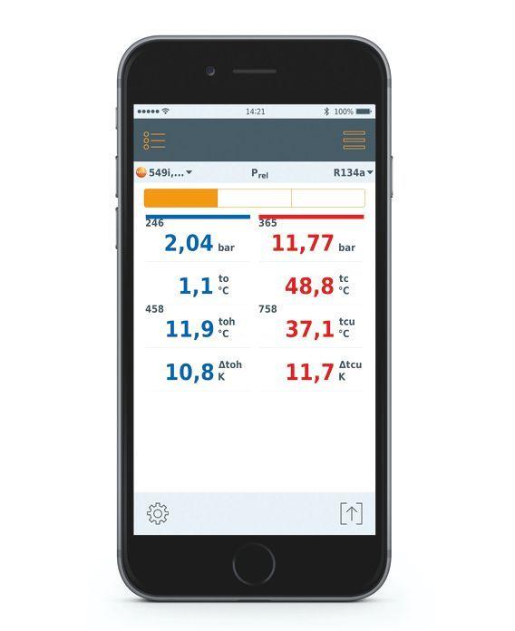 TESTO Smart Probes hűtéstechnikai szett, légkondicionáló és hűtőrendszer, bluetooth funkcióval, Smart készülékekhez okostelefon / tablet, okosérzékelő 0563 0002
