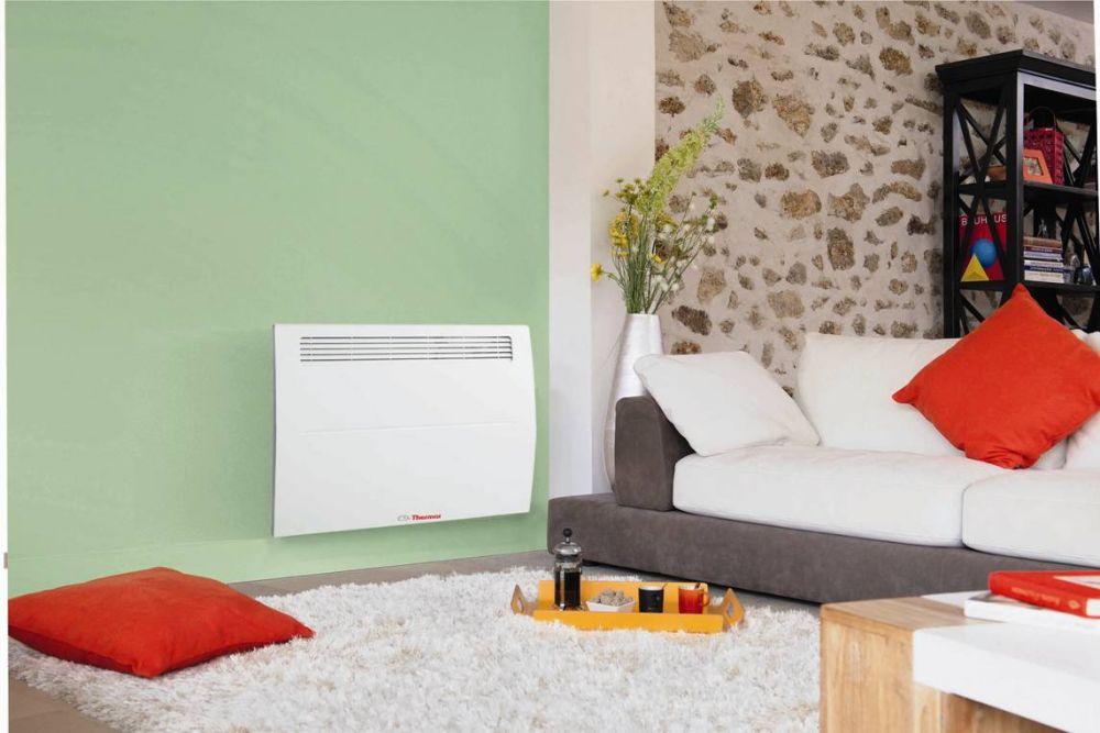 Thermor SOPRANO HD 2in1 Elektromos fali / falra szerelhető fűtőtest / konvektor / radiátor / fűtőpanel, 1000W / 1 kW, tartókonzollal, digitális programozható termosztáttal, dugvillával