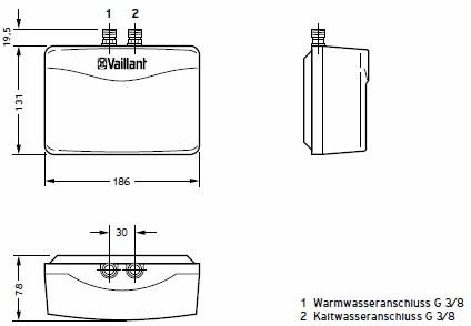 Vaillant miniVED H 3/2 zárt rendszerű átfolyós vízmelegítő / villanybojler / bojler 0010018597 / 0010009482 H 3/1 utódja