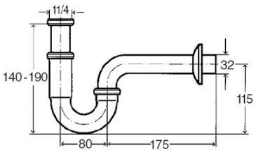 """Viega mosdó csőszifon / szifon mosdóhoz leeresztő szelep nélkül, 5/4"""" x 32 mm"""