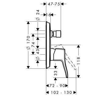 HansGrohe Metris Classic Egykaros, falsík alatti kádcsaptelep színkészlet / beépített biztonsági kombinációval / króm / 31486000 / 31486 000