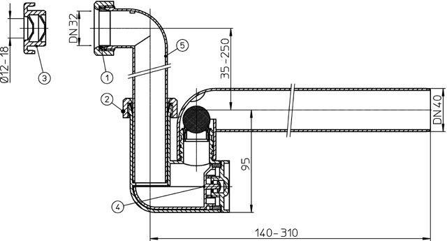 HL136NT Kondenzátum szifon átlátszó testtel, DN40 vízszintes elhúzással, DN32 vagy D 12-18mm vízszintes, vagy függőleges bemenettel, vízbűzzárral, kiegészítő mechanikus bűzzárral, tisztító nyílással.