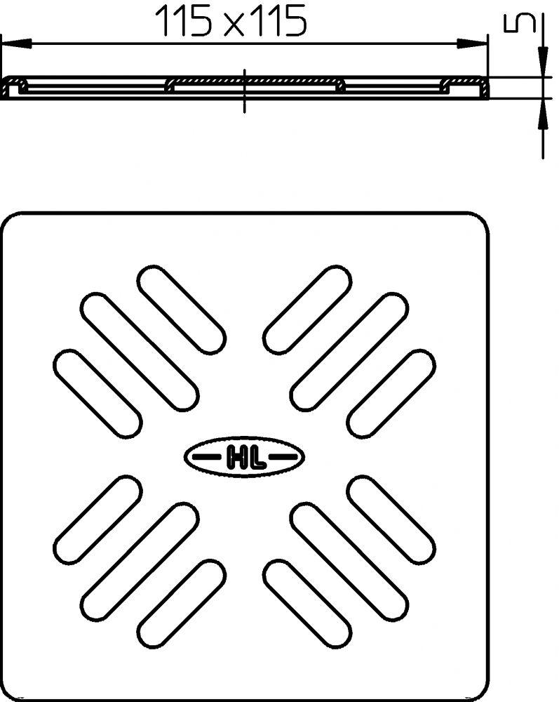 HL3110 Lefolyórács nemesacél V4A) 115x115