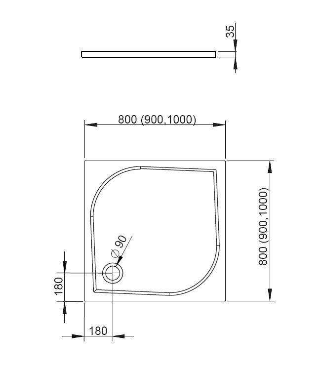 RADAWAY Delos C 80x80 cm szögletes akril zuhanytálca szifonnal SDC0808-01