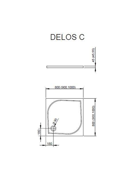 RADAWAY Delos C 90x90 cm szögletes akril zuhanytálca szifonnal SDC0909-01