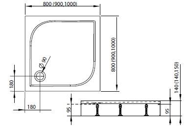 RADAWAY Delos C 80x80 cm szögletes akril zuhanytálca lábbal, előlappal, szifonnal 4C88170-03