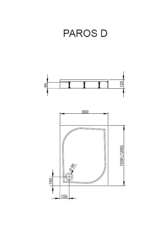 RADAWAY Paros D 80x100 aszimmetrikus műmárvány zuhanytálca, szifonnal, lábbal MBD8010-03-1