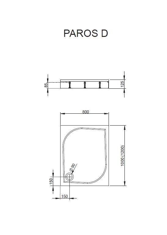 RADAWAY Paros D 80x120 aszimmetrikus műmárvány zuhanytálca, szifonnal, lábbal MBD8012-03-1