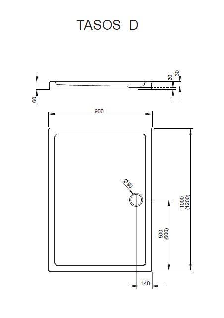 RADAWAY Tasos D 120x90 akril zuhanytálca, szifonnal STD1296-30