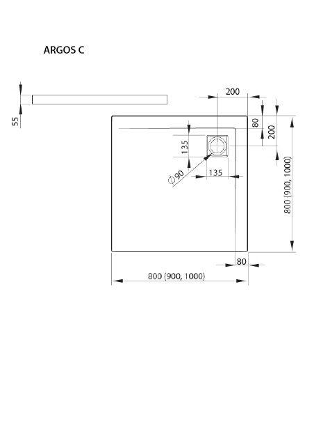 RADAWAY Argos C 90x90 cm szögletes akril zuhanytálca szifonnal, lábbal 4AC99-01