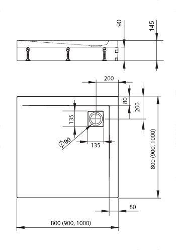 RADAWAY Argos 90 fehér előlap, szögletes akril zuhanytálcához 001-510084004