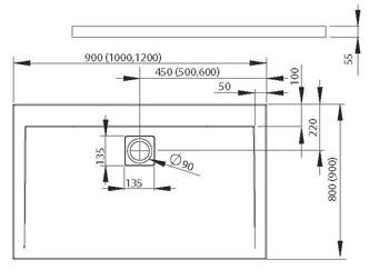 RADAWAY Argos D 90x100 szögletes akril zuhanytálca, szifonnal, lapos kivitel 4AD910-01