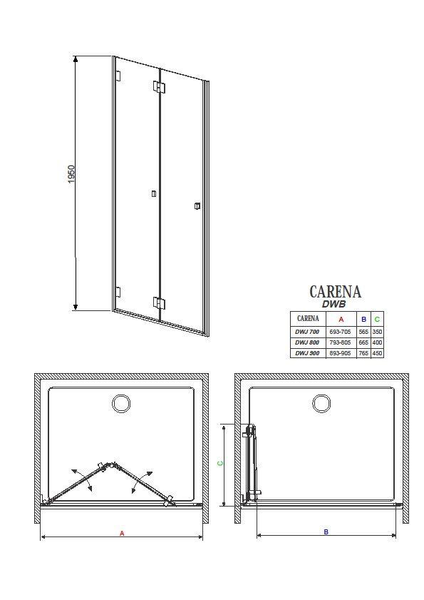 RADAWAY Carena DWB 70x195 cm B harmonika zuhanyajtó Balos / 01 Átlátszó üveg / Befelé nyíló / Króm keret / 34582-01-01NL