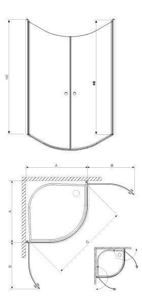 RADAWAY EOS PDD 90x90 íves zuhanykabin / 12 intimato üveg / 37603-01-12N
