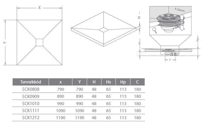 RADAWAY  Négyzet alakú zuhanytálca padlóösszefolyóval 79x79 / Burkolható zuhanytálcák / Szögletes / Burkolat alatti / 5CK0808