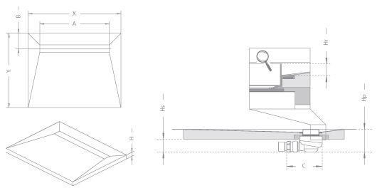 RADAWAY Téglalap alakú zuhanytálca folyókával a hosszú oldal mentén 119x89 / Burkolható zuhanytálcák / 5-7 mm vastagságú padló burkolatokhoz / aszimmetrikus zuhanytálca / 5DLA1209B-X