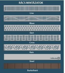 RADAWAY Téglalap alakú zuhanytálca folyókával a hosszú oldal mentén 169x89 / Burkolható zuhanytálcák / 5-7 mm vastagságú padló burkolatokhoz / aszimmetrikus zuhanytálca / 5DLA1709B-X