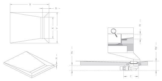 RADAWAY Téglalap alakú zuhanytálca folyókával a hosszú oldal mentén 99x89 / Burkolható zuhanytálcák / 8-12 mm vastagságú padló burkolatokhoz / aszimmetrikus zuhanytálca / 5DLB1009A-X