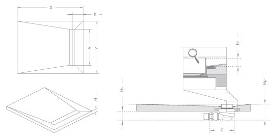 RADAWAY Téglalap alakú zuhanytálca folyókával a hosszú oldal mentén 109x79 / Burkolható zuhanytálcák / 5-7 mm vastagságú padló burkolatokhoz / aszimmetrikus zuhanytálca / 5DLB1108B-X