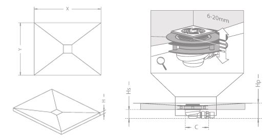 RADAWAY Téglalap alakú zuhanytálca padlóösszefolyóval  169x79 / Burkolható zuhanytálcák / aszimmetrikus zuhanytálca / 5DK1708-X