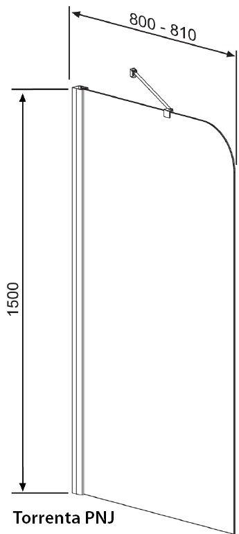 RADAWAY Torrenta PNJ J kádparaván 80x150 / 01 átlátszó üveg / Jobbos / 201101-101R