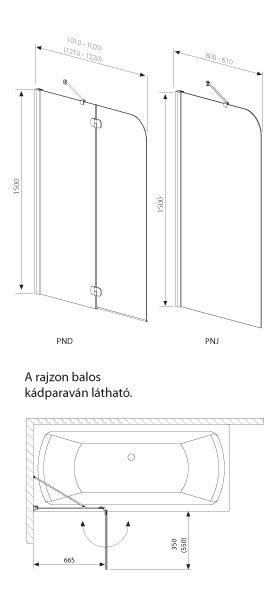 RADAWAY Torrenta PND J kádparaván 100x150 / 01 átlátszó üveg / Jobbos / 201202-101R