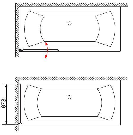 RADAWAY EOS PNJ B kádparaván 70x152 / 01 átlátszó üveg / Balos / 205101-101L