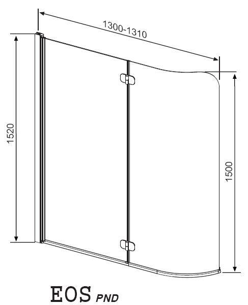 RADAWAY EOS PND  J kádparaván 130x152 / 01 átlátszó üveg / Jobbos / 205202-101R