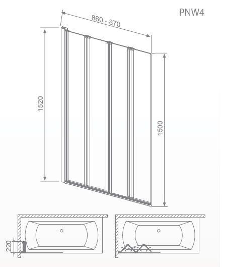 RADAWAY EOS PNW4 kádparaván 86x152 / 01 átlátszó üveg / 205401-101