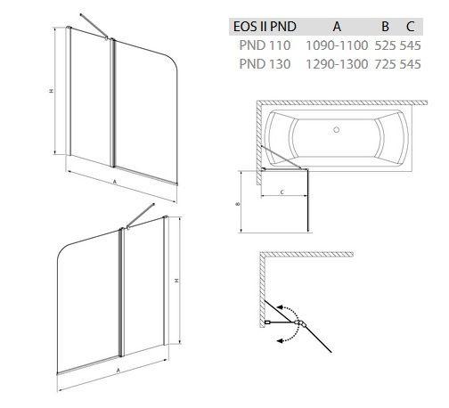 RADAWAY EOS II PND 130 B kádparaván 130x150 / 01 átlátszó / Balos / 206213-01L