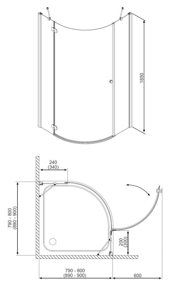 RADAWAY Torrenta PDJ 90 J negyedköríves zuhanykabin 90x90x185 / Jobbos / 05 grafit üveg / 31800-01-05N