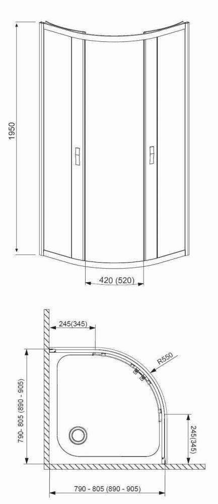 RADAWAY Design Afrodyta A 80 negyedköríves zuhanykabin 80x80x195 / 01 átlátszó üveg / 30112-01-01
