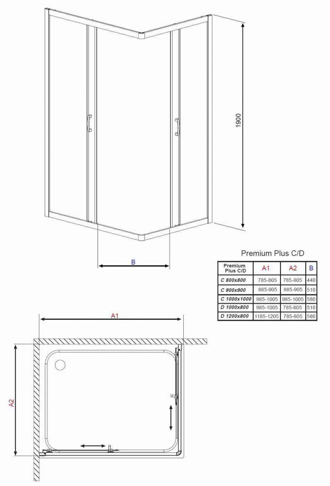 RADAWAY Premium Plus D aszimmetrikus zuhanykabin 90x80x190 / 01 átlátszó üveg / 30437-01-01N