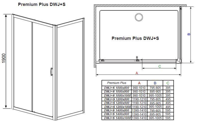 RADAWAY Premium Plus DWJ+S 100 zuhanyajtó 100x190 / 08 barna üveg / 33303-01-08N