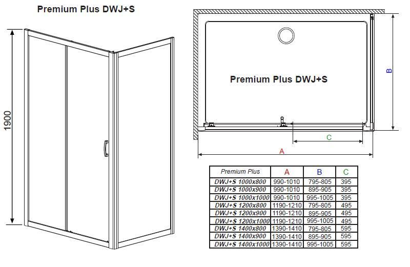 RADAWAY Premium Plus DWJ+S 100 oldalfal 100x190 / 01 átlátszó üveg / 33423-01-01N