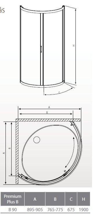 RADAWAY Premium Plus B 90 negyedköríves zuhanykabin 90x90 / 01 átlátszó üveg / 30473-01-01N