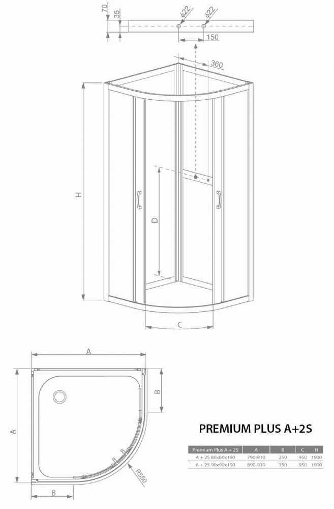 RADAWAY Premium Plus 2S80 negyedköríves zuhanykabin hátfal 80x80 / 01 átlátszó üveg / 33443-01-05N