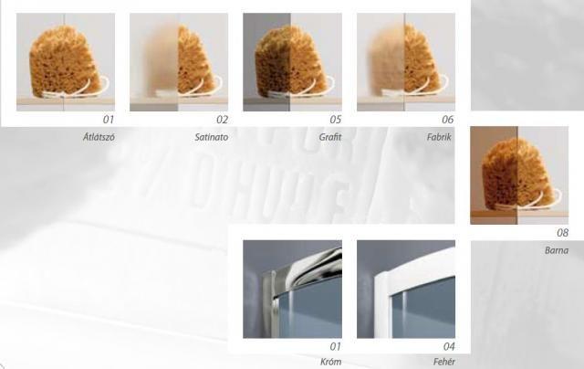 RADAWAY Dolphi Classic A 1850 negyedköríves / íves zuhanykabin  80x80 cm-es, 05 grafit üveg / Króm keret, 30010-01-05