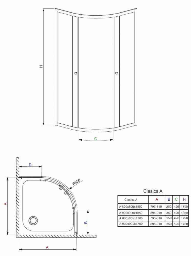RADAWAY Dolphi Classic A 1850 negyedköríves / íves zuhanykabin  90x90 cm-es, 02 szatén üveg / Króm keret, 30000-01-02