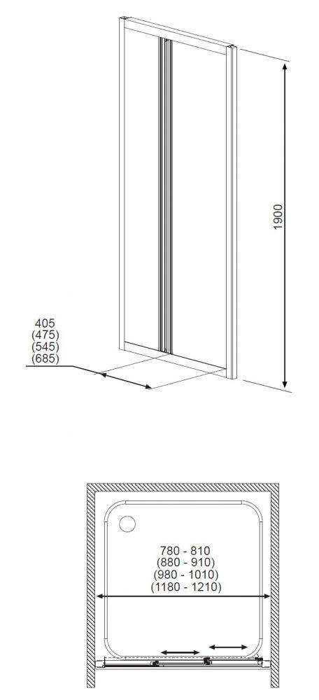 RADAWAY Treviso DW 100 zuhanyajtó 100x190 / 01 átlátszó üveg / 32323-01-01N