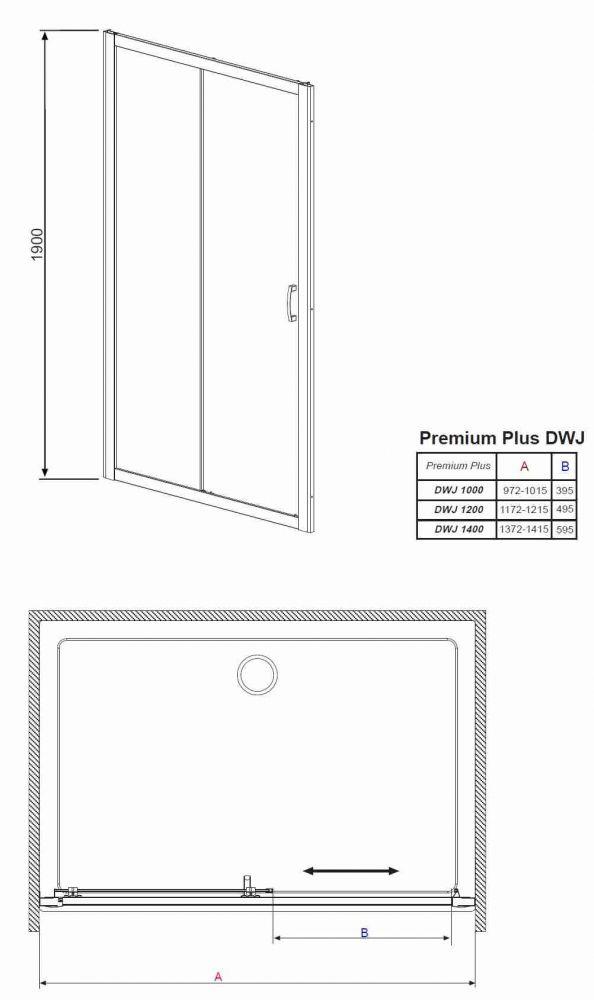 RADAWAY Premium Plus DWJ+S 130 zuhanyajtó 130x190 / 01 átlátszó üveg / 33333-01-01N