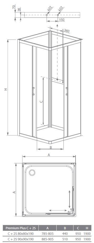 RADAWAY Premium Plus C+2S zuhanyajtó 80x80x190 / 01 átlátszó üveg / 30463-01-01N