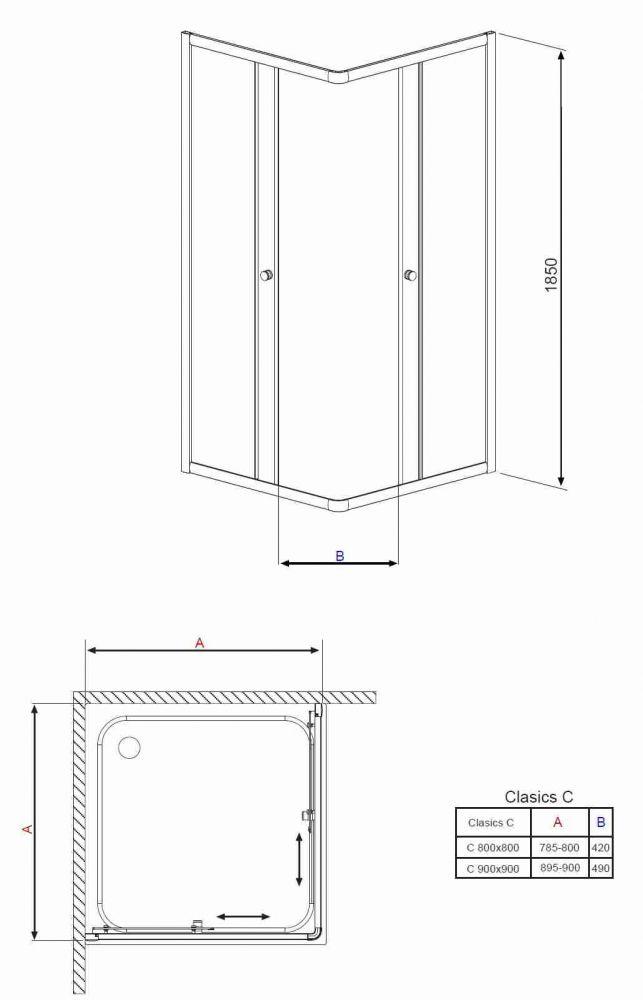 RADAWAY Dolphi Classic C 90 1850 szögletes zuhanykabin 90x90 cm-es, fehér keret / átlátszó üveg, 30050-04-01