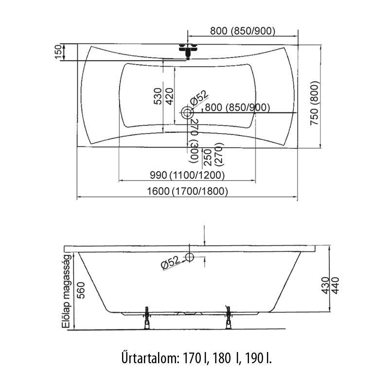 M-Acryl AMANDA 170x75 cm egyenes akril kád + Basic 4+4+2 vízmasszázs, pneumatikus vezérléssel