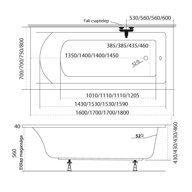 M-Acryl FRESH 170x70 egyenes akril kád + Comfort 6+4+2 vízmasszázs, pneumatikus vezérléssel