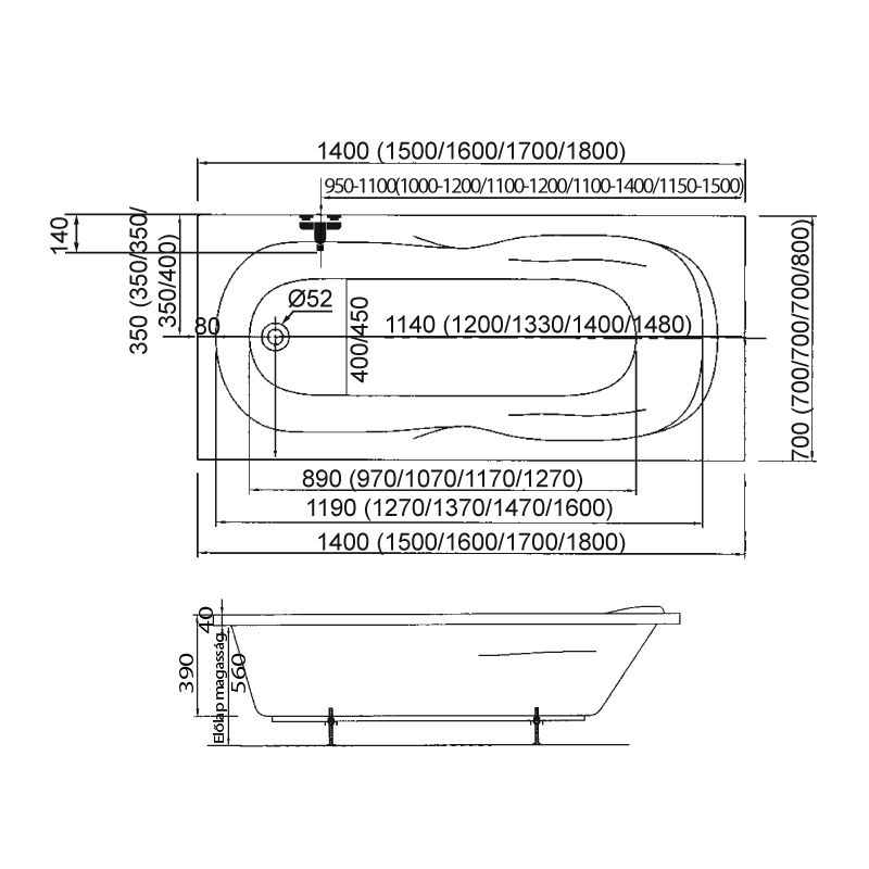 M-Acryl KLARA 150x70 egyenes akril kád + Wellness Premium Plus 28 fúvókás intelligens Masszázsrendszer ABC* technológiával,  elektronikus  vezérléssel
