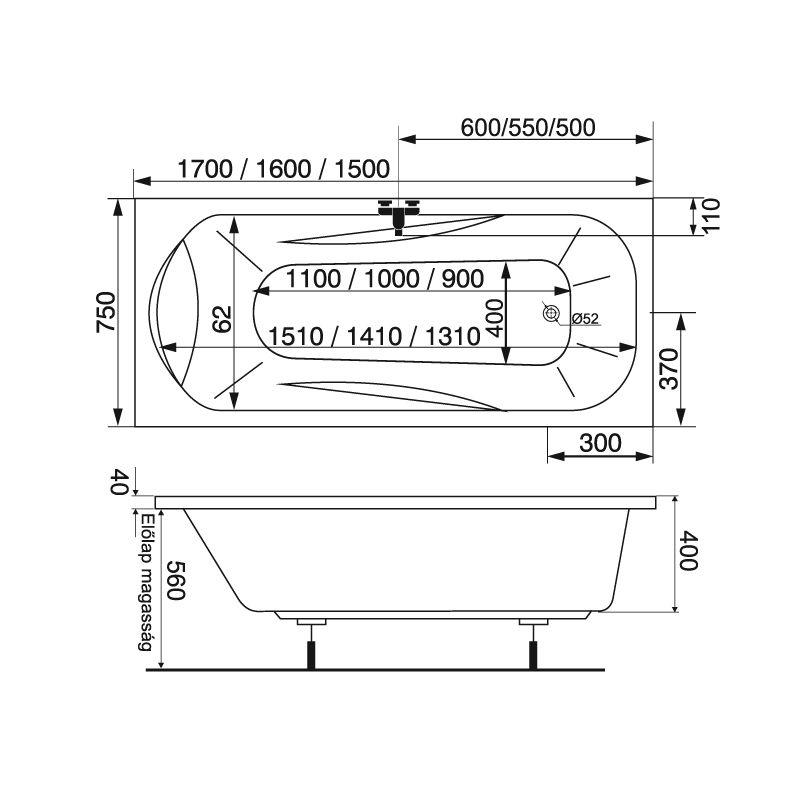 M-Acryl SORTIMENT 150x75 egyenes akril kád + Comfort 6+4+2 vízmasszázs, pneumatikus vezérléssel