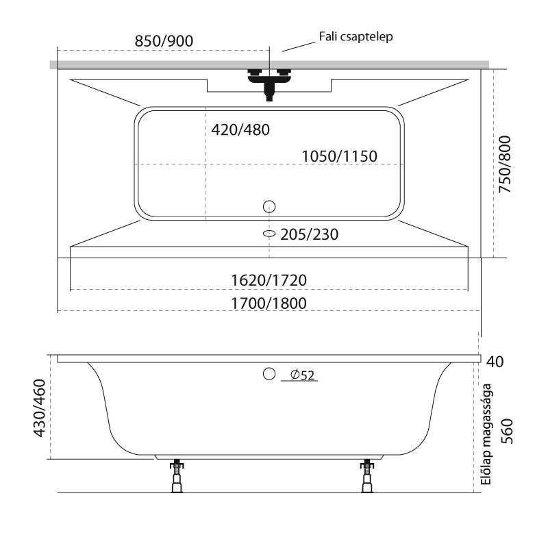 M-Acryl CRYSTAL 180x80 egyenes akril kád + Basic 4+4+2 vízmasszázs, pneumatikus vezérléssel